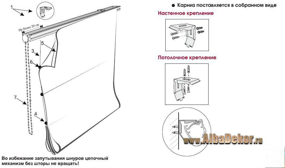 Римские шторы механизм схема